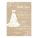 Lace Dress Rustic Bridal Shower Invitation Pink