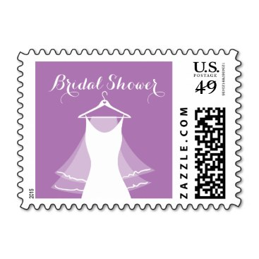 lavender purple wedding gown bridal shower stamps