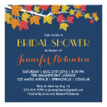 Maple Leaves Navy Blue Fall Wedding Invitation