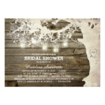Mason Jar String Light Bridal Shower Barn Wood Card