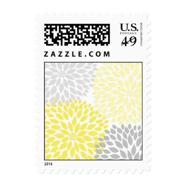 MOD Yellow and Gray Dahlia Bridal or Baby Shower Postage Stamp