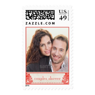 Natural Botanical Rose Couples Shower Custom Photo Postage Stamps