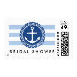 Nautical bridal shower postage, anchor and stripes postage stamp