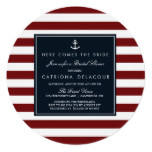 Navy and Red Nautical Bridal Shower Invitation