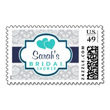 Navy, Turquoise, Gray Damask Bridal Shower Stamp
