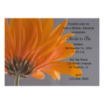 Orange Daisy on Gray Bridal Shower Invitation