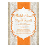 Orange Linen Burlap Lace Bridal Shower Invitations
