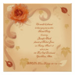 Orange Rose in the Fall Bridal Shower Invitation