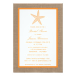 Orange Starfish Beach Burlap Bridal Shower Card