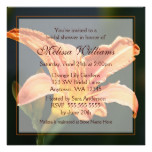 Orange Tiger Lily Bridal Shower Invitations