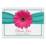 Pink Gerbera Daisy Turquoise Wedding Thank You 3 Card