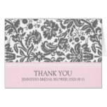 Pink Gray Damask Bridal Shower Thank You Card