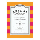 Pink Orange Striped Stylish Bridal Shower Invite