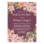 Plum Purple Rustic Flower Bridal Shower Invitation