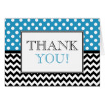 Polka Dot Blue & Chevron Thank You Card