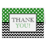 Polka Dot Green & Chevron Thank You Card