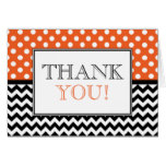 Polka Dot Orange & Chevron Thank You Card