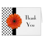 Polka Dot Orange Daisy Wedding Shower Thank You Card