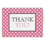 Polka Dot Pink & White Thank You Card