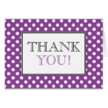 Polka Dot Purple & White Thank You Card