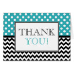 Polka Dot Turquoise & Chevron Thank You Card