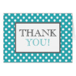Polka Dot Turquoise & White Thank You Card