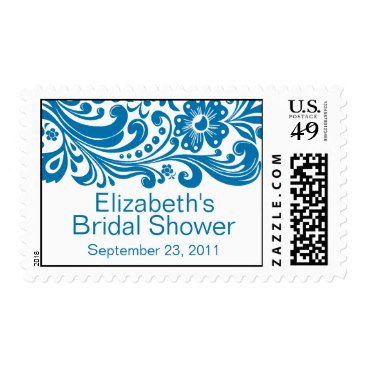 Print Floral Swirl Damask Bridal Shower Stamp Blue