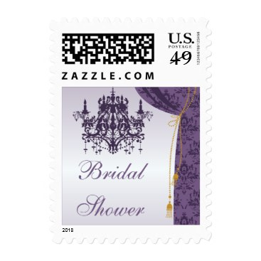 Purple Chandelier and Damask Curtain Bridal Shower Stamps
