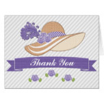 Purple Derby Hat Wedding Shower Thank You Card