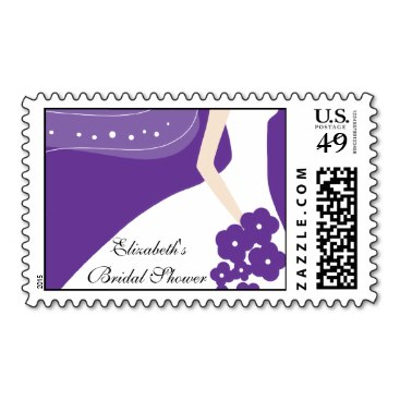 purple white modern bride bridal shower stamp