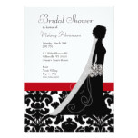 Red and Black Damask Bridal Shower Invitations