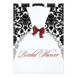 Red and Black Damask Bridal Shower Wedding Dress Card