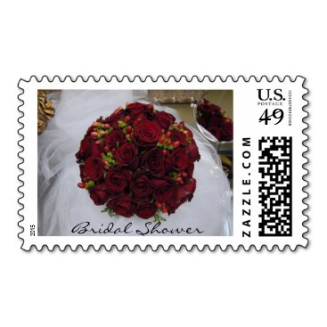 Red Bridal Bouquet - Bridal Shower Stamps