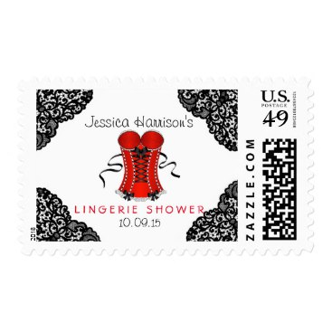 Red Corset & Black Lace Lingerie Shower Postage Stamps