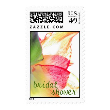 Red Gold Green Amaryllis Abstract Bridal Shower Postage Stamps