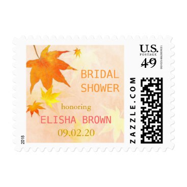 Red   Gold Maple Leaves Fall Bridal Shower Postage Stamp