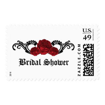 Red Gothic Swirl Roses Bridal Shower Postage