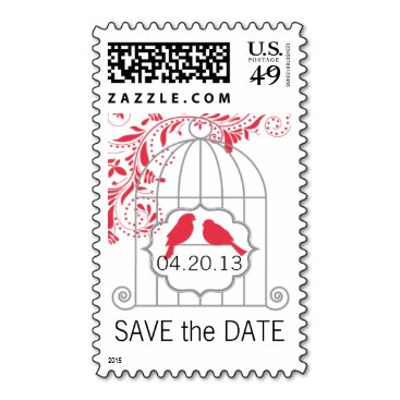 Red Gray Love Birds Birdcage Save The Date Postage