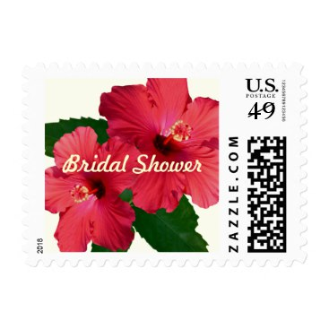 Red Hibiscus Flower Bridal Shower Postage Stamps