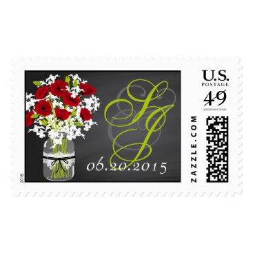 Red Poppies Chalkboard Mason Jar Wedding Stamps