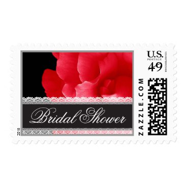 RED Rose and Lace BRIDAL SHOWER Postage