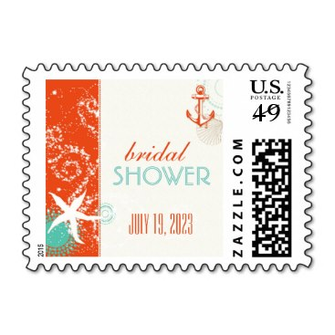 Red Teal Ivory Nautical Bridal Shower Stamps