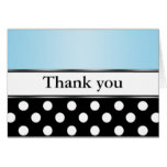 Royal Black Polka Dot Blue Thank You Cards