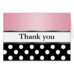 Royal Black Polka Dot Pink Thank You Cards