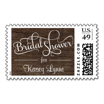 Rustic Barn Wood Bridal Shower Fancy Script Stamps