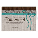 Rustic Burlap And Lace Bridal Party Thank You Card