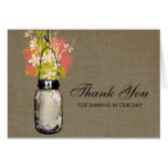 Rustic Burlap Mason Jar filled with Wildflowers Card