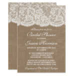 Rustic Burlap & Vintage White Lace Bridal Shower Card