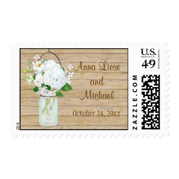 Rustic Country Mason Jar Flowers White Hydrangeas Stamps