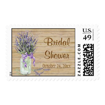Rustic Country Mason Jar French Lavender Bouquet Postage Stamps